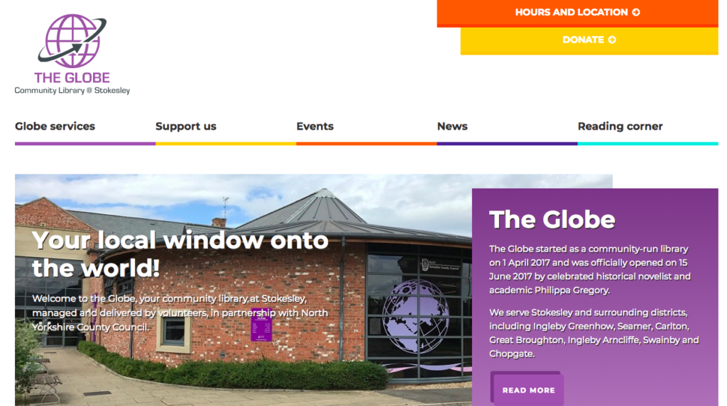 Stokesley, The Globe Library, Website design