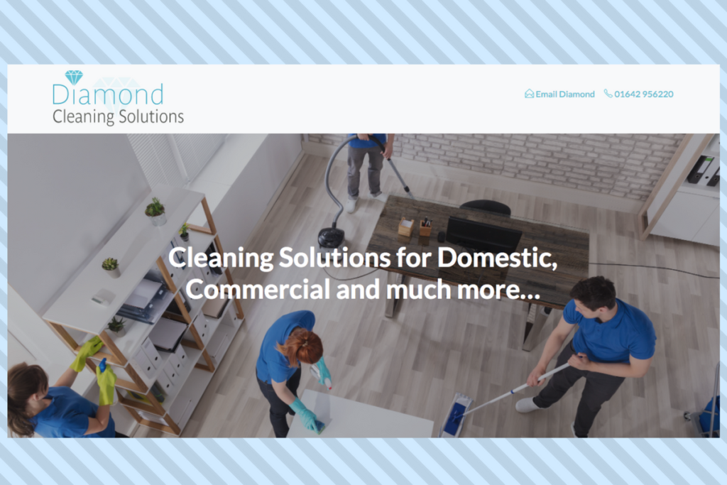 Website design, new brand, Diamond Cleaning solutions, Stokesley, Catch Designs, Sue Thompson