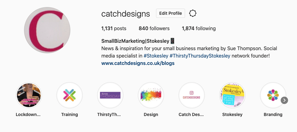 social media, Instagram, highlights, instagram stories, Sue Thompson, Catch Designs, Stokesley, North Yorkshire